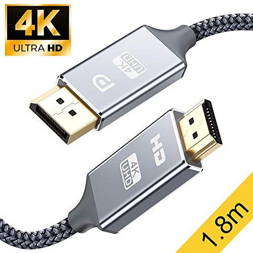 DisplayPort auf HDMI Kabel 4K 1.8m,DP zu HDMI Kabel Nylon Geflochtener,Snowkids Display Port Stecker zu HDMI Stecker UHD 4K verbindungskabel für HDTV,Monitor,Laptop,PC,Beamer,Grafikkarten-Grau