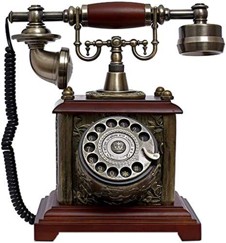ADSE Teléfono clásico Vintage/teléfono Retro, Resina + Madera Maciza, Esfera giratoria de función y Reloj de Metal clásico