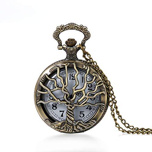 Vintage Lebensbaum Herren Damen Taschenuhr Pullover Halskette Bronze Weiss
