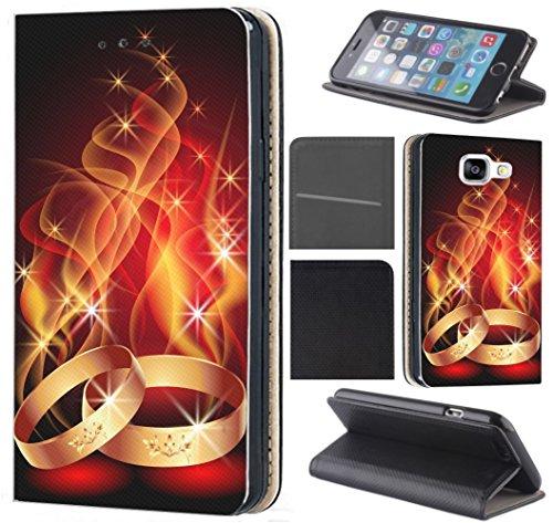 Hülle Beidseitig LG G6 LG G6 Hülle von CoverHeld Premium Flipcover Schutzhülle Flip Case Motiv (1087 Ring Ringe Feuer Ehe Hochzeit Rot Gold)