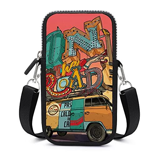 Bolso bandolera con correa de hombro extraíble para guitarra, camping, a prueba de sudor, funda para pulsera de teléfono, cartera para correr y niñas