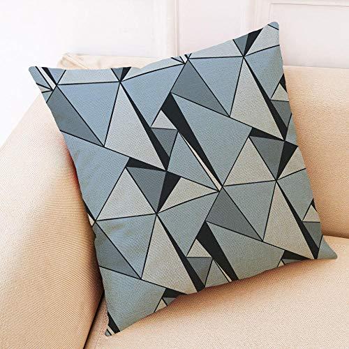 LPLH Color Elementos geométricos Abstractos algodón y Lino Funda de Almohada para Coche sofá cojín Almohada-A_45 * 45 Terciopelo súper Suave