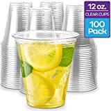 Stack Man [100 Pack - 12 oz.] Clear Disposable Plastic Cups PET Crystal Clear Disposable 12oz Plastic Cups