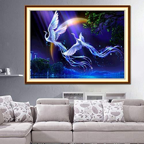 Diamant-schilderij 5D DIY diamant Phönix dubbele wiel 50 x 40 cm strass borduurwerk kruissteek mozaïek kunst decoratie kindergeschenk