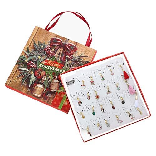 PRETYZOOM – Conjunto de caixa de presente de Natal com calendário do advento, 2020, joias de Natal, pingentes e pulseiras do advento, joias faça você mesmo, contagem regressiva para o Natal para crianças, meninas e mulheres
