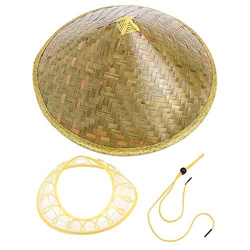 Chinesische orientalische Coolie Sonnenhut Krempe Bambus Strohhut Tourismus Regen Cap Kegelkonischer Bauer Unisex Angeln Reis Hut, Bambus Farbe