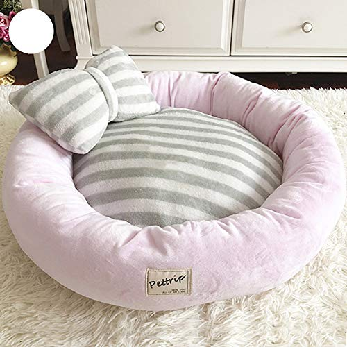 AOSHE Round Winter Warm Bed Dog Cat Sleeping Bag Plush Puppy Pad Portable Cat Supplies Waterproof Small Medium and Large Dogs Cute-Pink_M