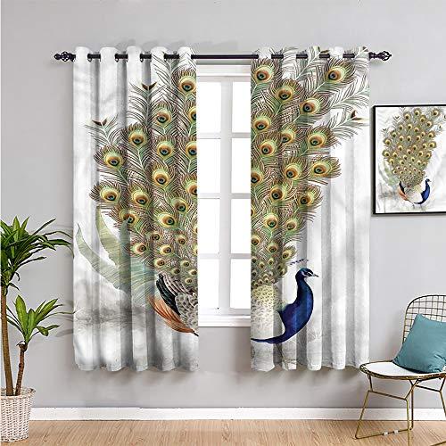 Xlcsomf Pavo real cortina de cocina, cortinas de 160 cm de longitud pájaro con plumaje colorido trae belleza de 106 cm de ancho x 163 cm de largo
