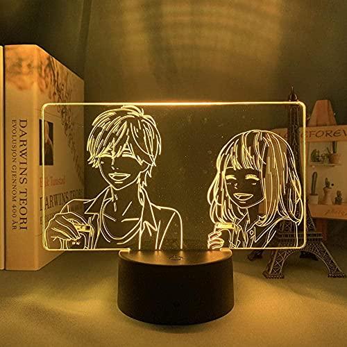 GEZHF Anime 3D Lámpara Naranja para Dormitorio Decoración Nightlight Regalo de Cumpleaños Manga Naranja Led Noche Luz de Noche Mesa-Touch Control Control Táctil