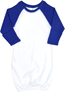 Laughing Giraffe Baby Long Sleeves Raglan Baseball Gown with Fold-Over Mittens (White/Royal)