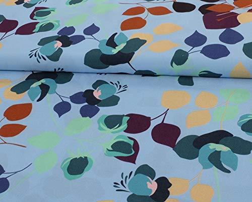 Qualitativ hochwertiger Viskosestoff mit Blätter Musterung auf Blau als Meterware zum Nähen von Damen und Kinderkleidung, 50 cm