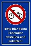 Melis Folienwerkstatt Schild - Fahrräder abstellen - 30x20cm | Bohrlöcher | 3mm Aluverbund – S00050-023-F -20 Varianten