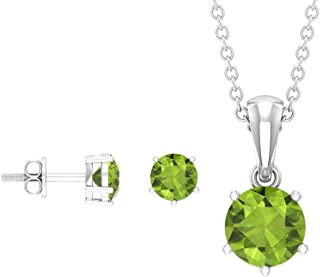 Pendant and Earring Set, Solitaire Jewelry, 1.75 CT Round Cut Peridot Necklace and Earring Set