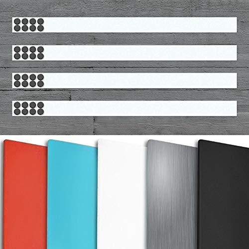 Magnetleiste Büro im 4er Set | inklusive Magneten | als Magnet Wandleiste für Fotos, Dokumente, Notizen | selbstklebend, wahlweise 50 cm oder 100 cm Länge | viele Farben (Weiß, 50 cm Länge)