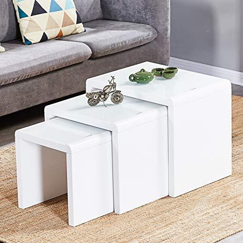 Satztisch 3 weiße Hochglanz-Couchtischnester Stapelbares Design MDF Holz Beistelltisch Wohnzimmermöbel Set (Weiß)