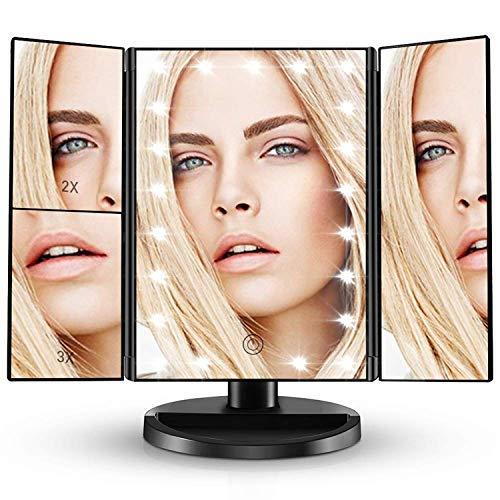 JKUNYU Espejo de baño portátil, plegado triple Maquillaje Tocador Espejos con 21 luces LED for el dormitorio escritorio de la tabla robusta plegable de maquillaje Espejo ajustable Espejo de pared