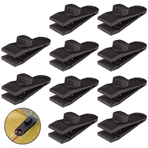 HengLiSam Tarp Clips, Heavy Duty Lock Grip, Clamps Withstand 60mph Strong Wind Fit for Awnings, Outdoor Camping, Caravan Canopies, Car Covers, Swimming Pool Covers (10 pcs)