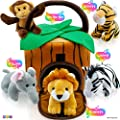 Play22 Plush Talking Stuffed Animals Jungle Set - Plush Toys Set with Carrier for Kids Babies & Toddlers - 6 Piece Set Baby Stuffed Animals Includes Stuffed Elephant, Tiger, Lion, Zebra, Monkey by Play22