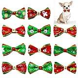 Lifreer Juego de 11 pajaritas de Navidad para mascotas, perro, gato, collar de Navidad, lazo, disfraces de mascotas, corbatas de varios estilos