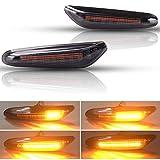 [Versión mejorada] Kinstecks 2PCS LED Luz de señalización de flujo lateral Luz indicadora de giro para B-M-W 1 3 5 Series E81 E82 E87 E88 E90 E91 E92 E93 E46 NUR BJ E60 E61 X3 E83