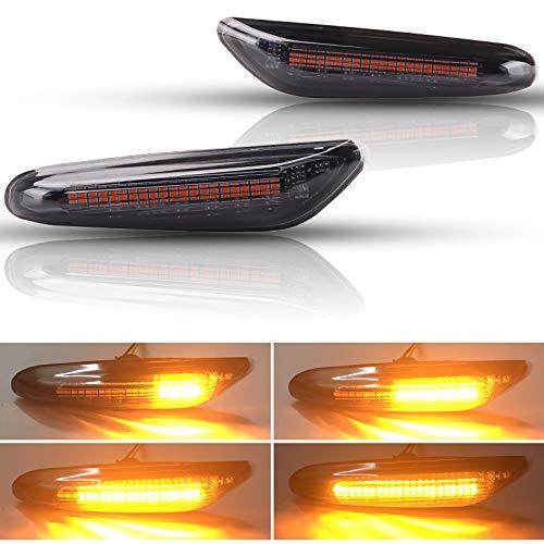 [Verbesserte Version] Kinstecks 2 STÜCKE LED-Seitenmarkierungsleuchte Fließendes Blinklicht für B-M-W 1 3 5 Serie E81 E82 E87 E88 E90 E91 E92 E93 E46 NUR BJ E60 E61 X3 E83