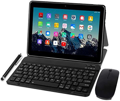 Tablet 10 pulgadas 4G LTE – TOSCIDO Octa Core Tablet Android 10.0, 4GB / RAM, 64GB / ROM, Dual Sim, WiFi, ratón inalámbrico | Teclado Bluetooth | Stylus | Funda para Tablet M863 y más incluido (gris)