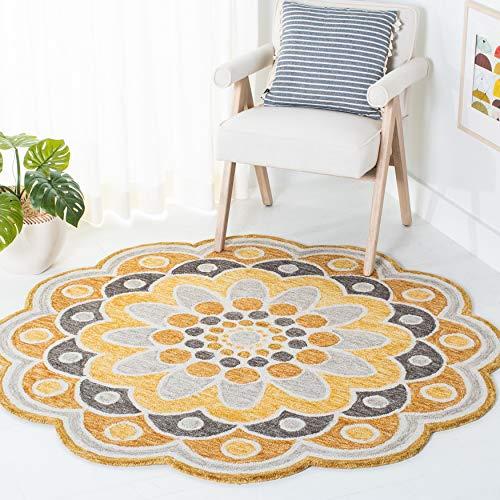 Safavieh Novelty Collection NOV101B Handmade Boho Flower Premium Wool Area Rug, 6' x 6' Round, Grey / Gold