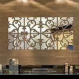 Adhesius de paret amb mirall Floral, d'acrílic quadrat geomètric patró *DIY *Art *Decal, mirall autoadhesiu de plàstic per a paret de la llar sala d'estar dormitori decoració de paret, *8pcs