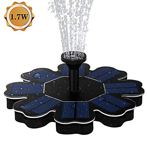CPPK Fontein op zonne-energie, vijverpomp op zonne-energie met 1,7 W zonnepaneel, drijvende ffonteinen, 4 sproeiers voor tuinvijver, vogelbad, viscontainer, kleine vijver, kinderzwembaden