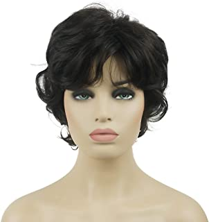 Lydell Women's Short Wavy Curly Wig Synthetic Hair Full Wig 6 inches (#4Darkset Brown)