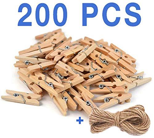 Mini pinzas de madera, 200 con hilo de regalo, para álbumes de manualidades, decoracion, fotos decorativas, bricolage, arte. bodas, comuniones, eventos