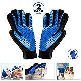 KAIHONG 2PCS Pet Bürste Handschuh, Haustier Grooming Bürsten Deshedding Glove Cat Haar-Remover-Bürsten Massage-Handschuh Pflegenbürste