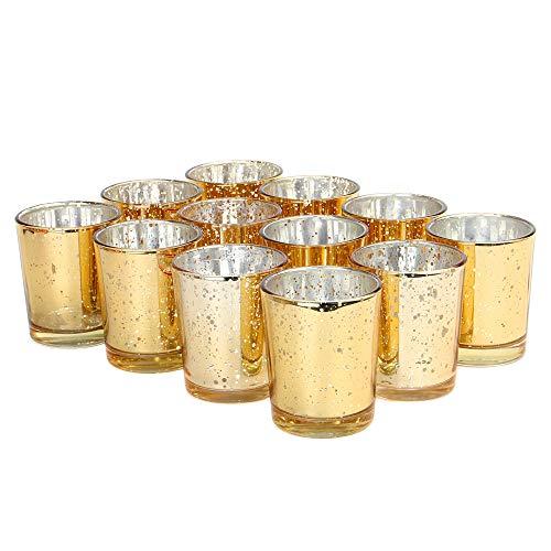 Set mit 12 gesprenkelten Teelichthaltern | Stilvolle Kerzenhalter aus Glas | Tisch & Heimtextilien | Moderne Wohnaccessoires | M&W (Gold)