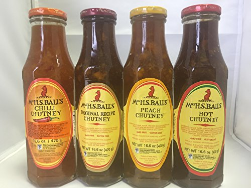 Mrs Balls Variety Sampler Selection of 4 flavors Original,Peach,Hot ,Chilli Chutney South African