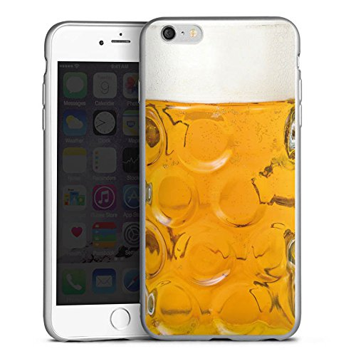 Apple iPhone 6s Plus Silikon Hülle Silber Hülle Schutzhülle Bier Glas Stein Masskrug