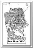 Panorama Poster Karte von San Francisco 50x70 cm - Gedruckt