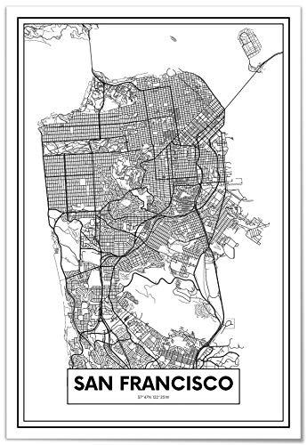 Panorama Cuadro de Aluminio Mapa de San Francisco 35x50cm - Impreso en Aluminio Dibond Blanco Cuadros Modernos para Salón - Cuadros para Dormitorio - Láminas Decorativas