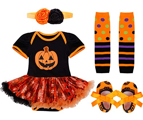 IEFIEL Vestido Calabaza para Bebe Niña Disfraz Halloween Cosplay Body Manga Cortas Conjunto Infantil Pelele con Tutú Banda de Cabeza Calientapiernas Zapatos Negro 0-3 meses