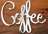 Way Of Hearts Metal Coffee Sign, Hand Polished Stainless Steel Wall Decor, Farmhouse Decor Coffee Bar Sign, Metal Cut Out Wall Art, Sign for Coffee Station, Silver, 9.45'  6.9'  0.1'