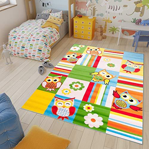 Tapiso Kinder Teppich Kurzflor Weich Kinderteppich Karo Streifen Eulen Muster Bunt Mehrfarbig Designer Kinderzimmer ÖKOTEX 80 x 150 cm