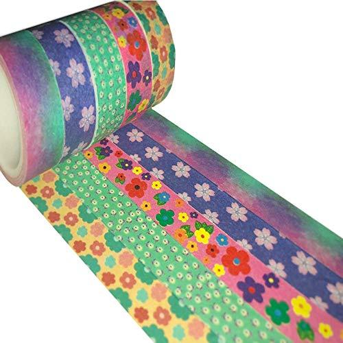 Meiwash Washi Tape Set Adhesivo decorativo Multi-patrón Washi Cinta adhesiva Scrapbooking y Bullet Journaling Tape Decoración para regalos (Flores multicolores, paquete de 5)