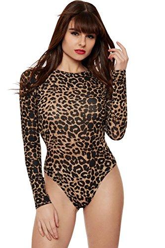 WearAll - Mujeres Tramo Largo Manga Leopardo Animal Impresión Superior Body Leotardo - Marrón - 40-42