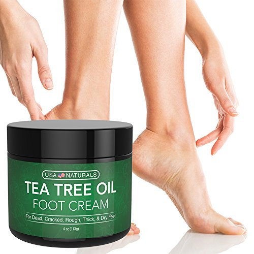Tea Tree Oil Foot Cream - Instantly Hydrates and Moisturizes Cracked or Callused Feet - Rapid Relief Heel Cream - Antifungal Treatment Helps & Soothes Irritated Skin, Athletes Foot, Body Acne (4oz)