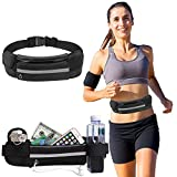 Running Pouch Belt Waist Pack Bag,Workout Fanny Pack,Bounce Free Jogging Pocket Belt–Travelling Money Cell Phone Holder for Running Accessories for Workouts, Cycling & More. (Black)