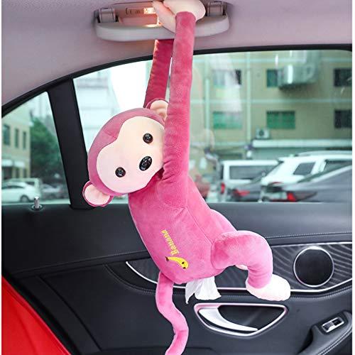 Taschentuchbox Auto,Kosmetiktücherbox Hängende Auto Tablett Papierhandtuch Box Hängende niedliche Affe Taschentuch Box Plüsch Tissue Tray Box Servietten Papiertücher Aufbewahrung Halter (Pink)