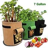 HomeYoo 3 Pack Sacchetto di piantatura Patata, 7 Gallon Grow Borse/Sacchi per Piante di Tessuto Non Tessuto/aerazione Tessuto Pentole/Borse Piantapatate con Patta per Coltivare (Verde+Marrone+Nero)