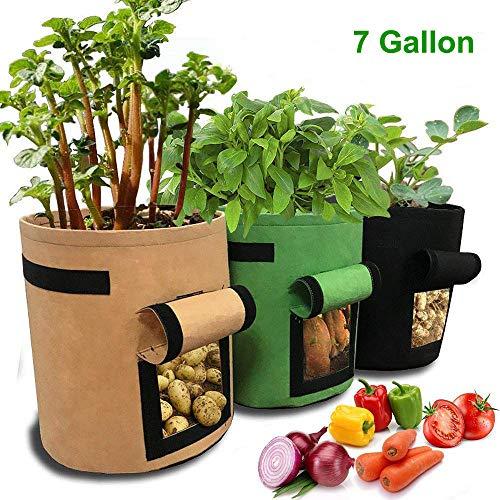 JanTeelGO Pflanzen Tasche, 3 Stück Kartoffel Pflanzsack, 7 Gallons Grow Bag Garten Gemüse Übertopf Vliesstoff Pflanzsack mit Griffe für Kartoffeln(7 Gallonen, Grün Braun Schwarz)