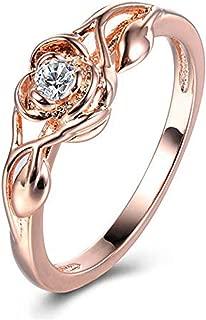 Floral Rings ODGear Women Silver Transparent Flower Vine Leaf Ring Wedding Gift Engagement Diamond