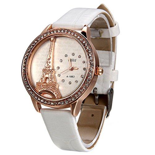 JewelryWe Damen Armbanduhr, Analog Quarz, Exquisite Leder Armband Uhr mit Strass Eiffelturm Zifferblatt, Weiss