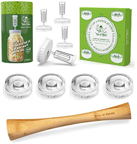 Year of Plenty Complete Fermenting Kit   Includes 4 NonSlip Grip Glass Fermentation Weights   4 White Fermenting Lids   1 12  Bamboo Cabbage Tamper   For Wide Mouth Mason Jar Ferments